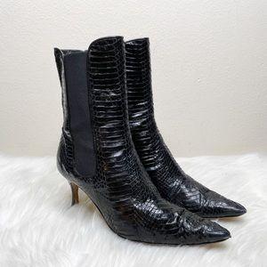 Manolo Blahnik Black Snake Heeled Ankle Boots 38.5